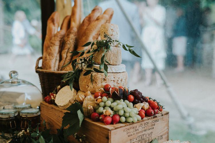 Cheese Tower Wedding Cake | Outdoor Woodland Wedding at The Dreys in Kent | Fern Edwards Photography