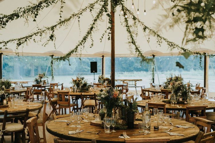 Greenery Filled Marquee Reception | Outdoor Woodland Wedding at The Dreys in Kent | Fern Edwards Photography