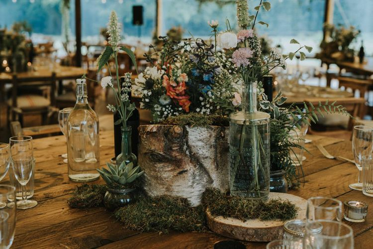 Tree Stump & Wild Flower Table Centrepiece | Wedding Decor | Outdoor Woodland Wedding at The Dreys in Kent | Fern Edwards Photography