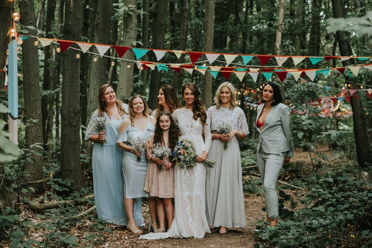 Bridal Party | Bride in Grace Loves Lace Gown | Outdoor Woodland Wedding at The Dreys in Kent | Fern Edwards Photography