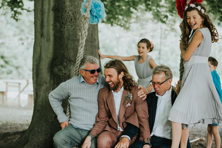 Wedding Guests   Groom in Check Suit   Outdoor Woodland Wedding at The Dreys in Kent   Fern Edwards Photography