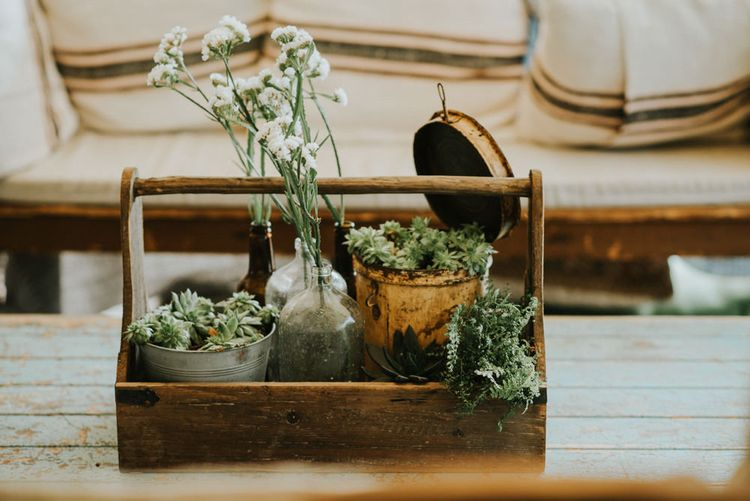 Succulents & Flower Stems in Jars Wedding Decor | Outdoor Woodland Wedding at The Dreys in Kent | Fern Edwards Photography