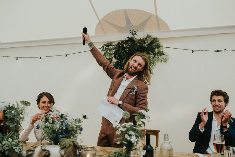 Speeches   Groom in Brown Check Suit   Outdoor Woodland Wedding at The Dreys in Kent   Fern Edwards Photography
