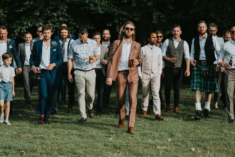 Groomsmen | Groom in Brown Check Suit | Outdoor Woodland Wedding at The Dreys in Kent | Fern Edwards Photography