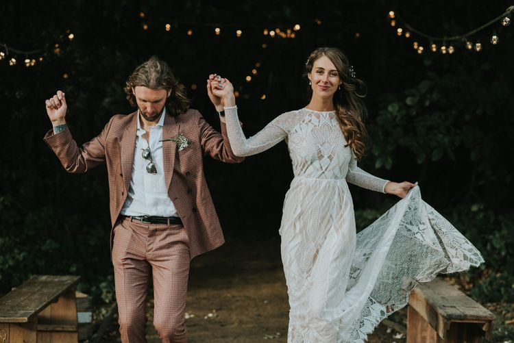 Bride in Grace Loves Lace Gown | Groom in Brown Check Suit | Outdoor Woodland Wedding at The Dreys in Kent | Fern Edwards Photography