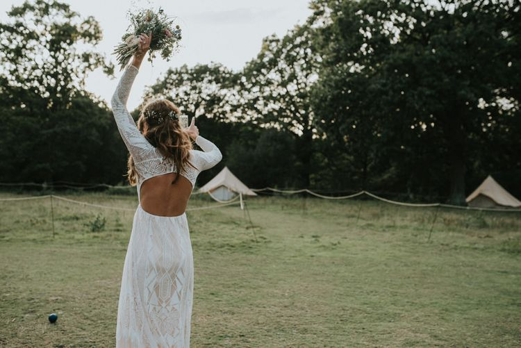 Boho Bride in Grace Loves Lace Gown | Outdoor Woodland Wedding at The Dreys in Kent | Fern Edwards Photography