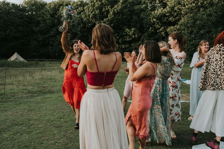 Bouquet Toss | Outdoor Woodland Wedding at The Dreys in Kent | Fern Edwards Photography