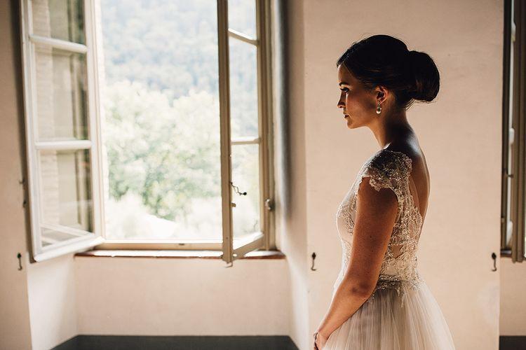 Bride in Customised David Fielden Wedding Dress