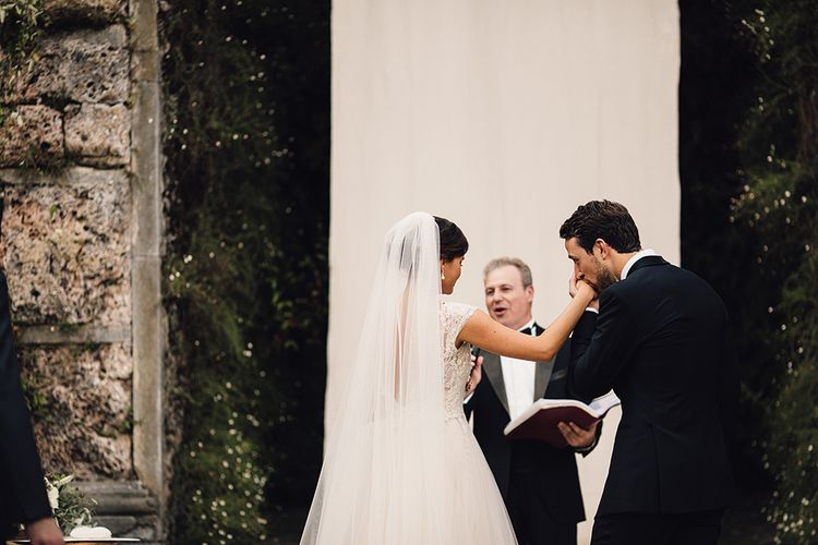 Bride in Customised David Fielden Wedding Dress and Groom in Cad & The Dandy Suit Wedding Ceremony