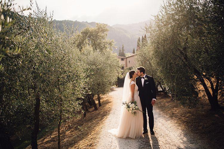 Bride & Groom Tuscan Olive Grove Sunset Portrait