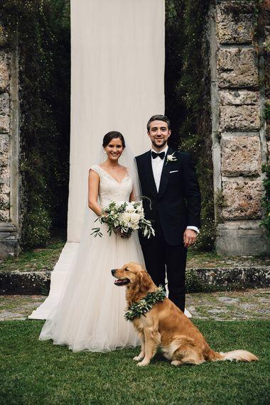 Bride in Customised David Fielden Wedding Dress and Groom in Cad & The Dandy Suit with Pet Golden Retriever