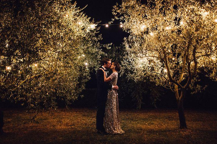 Bride in Sequin ASOS Dress & Groom in Cad & The Dandy Suit