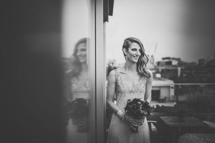 Bride in Sparkly Houghton Wedding Dress