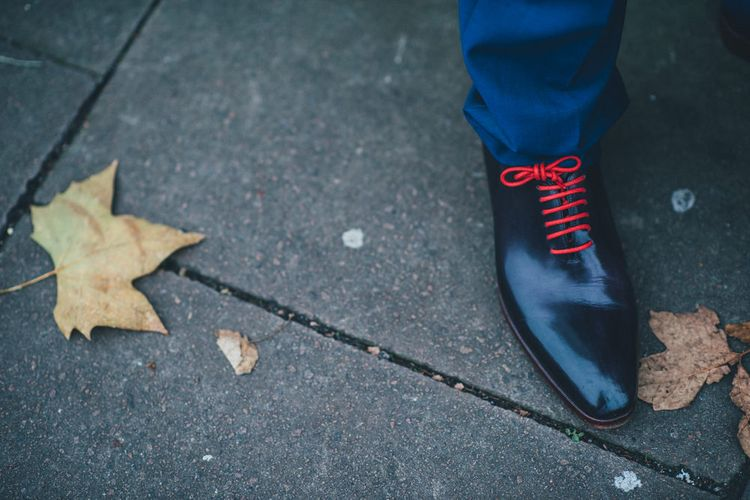 Stylish Groom Shoes with Red Laces