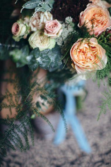 Peach Roses Wedding Flowers