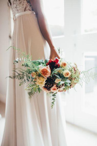 Bride in Etsy Bridal Gown & Autumnal Bouquet