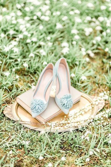Something Blue Wedding Shoes // Easter & Spring Wedding Inspiration With Seasonal Spring Flowers, Easter Eggs And Bunny Rabbits With Images From Gyan Gurung Photography