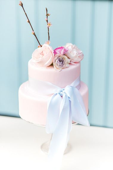 Pink Pastel Wedding Cake // Easter & Spring Wedding Inspiration With Seasonal Spring Flowers, Easter Eggs And Bunny Rabbits With Images From Gyan Gurung Photography