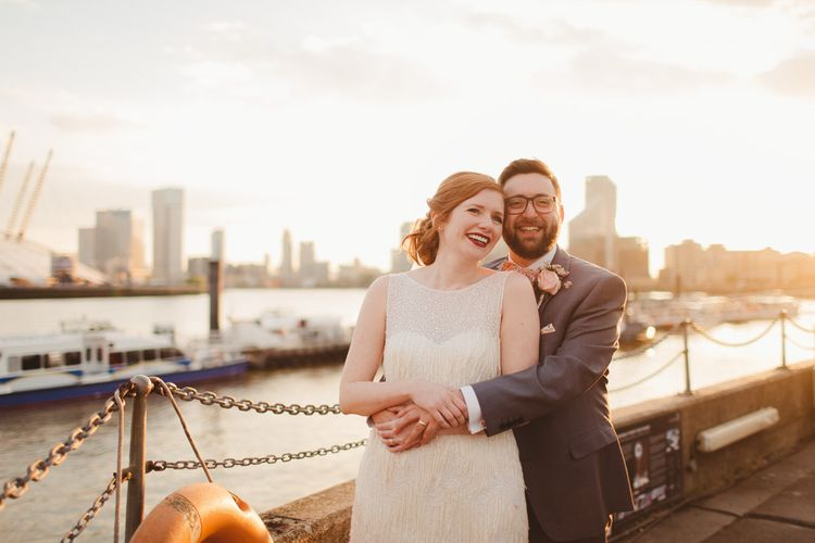 Elegant Wedding Trinity Buoy Wharf Foliage Installation & Festoon Light Decor With Bride In 20s Inspired Gown By Poppy Perspective Images Frances Sales