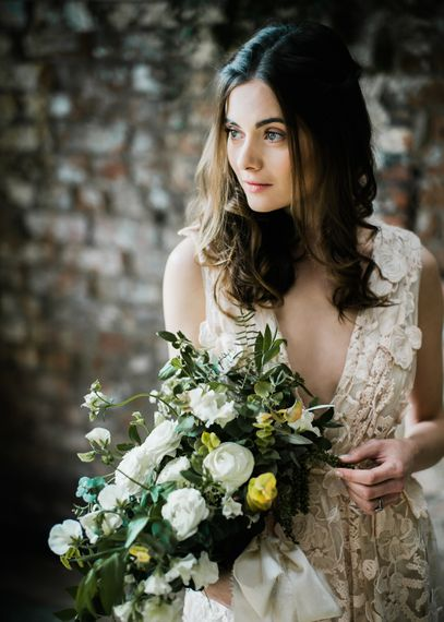 Foliage & White Flower Wedding Bouquet