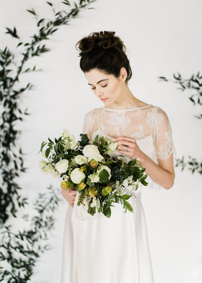 Foliage & White Wedding Bouquet