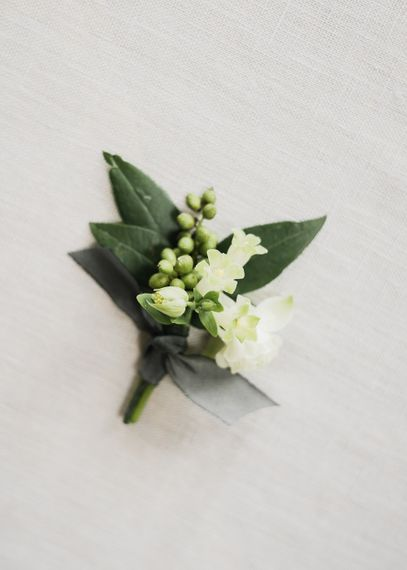 Green & White Buttonhole