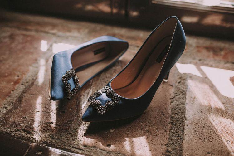 Blue Manolo Blahnik Hangisi Wedding Shoes