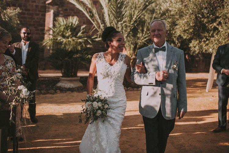 Outdoor Spanish Wedding Ceremony Bridal Entrance