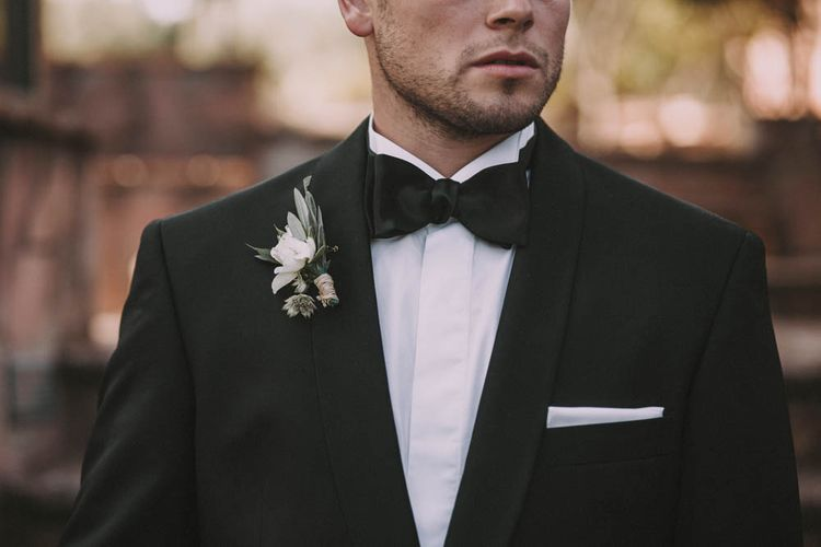 White Buttonhole & Bow Tie
