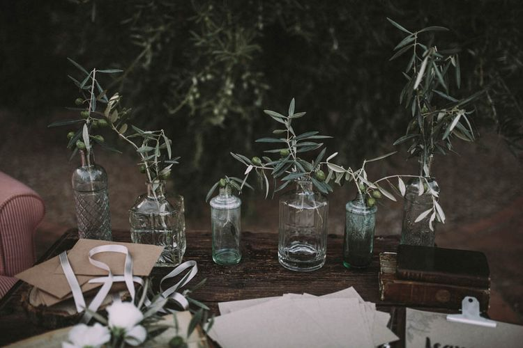 Green Bottles with Olive Branches Wedding Decor
