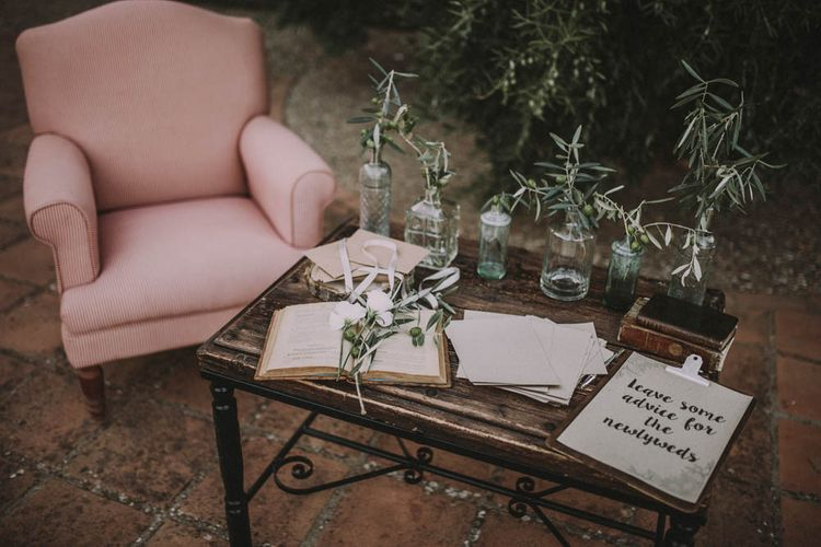 Guest Book Area with Olive Branch Decor