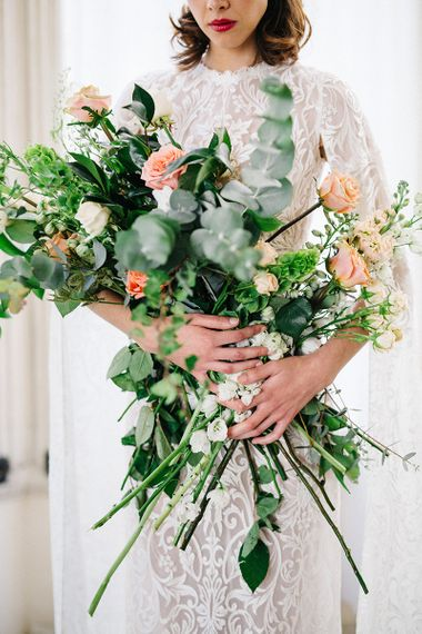 Oversized Wedding Bouquet With Coral & White Tones