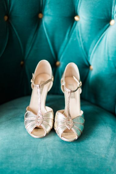 Gold T Bar Bridal Shoes