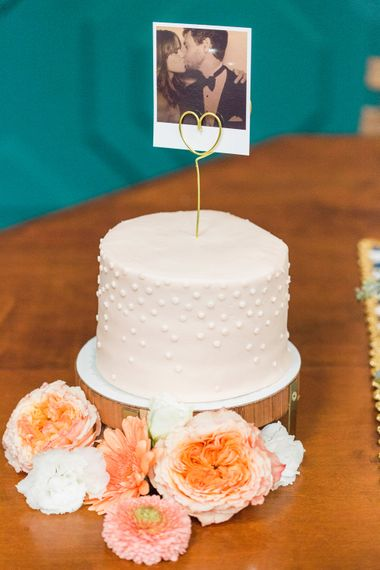 Single Tier Wedding Cake with Polaroid Cake Topper