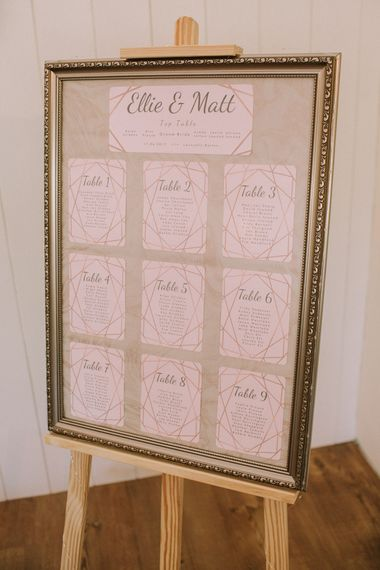 Pink & Gold Table Plan For Wedding