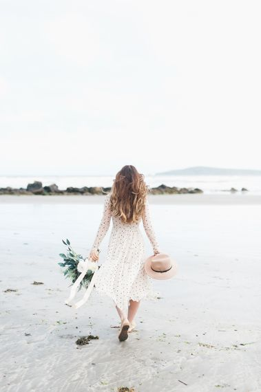 Coastal Elopement Shoot On The Beach With Bride In Polka Dot Dress & Felt Hat With Images By Emma Pilkington Fine Art Wedding Photographer