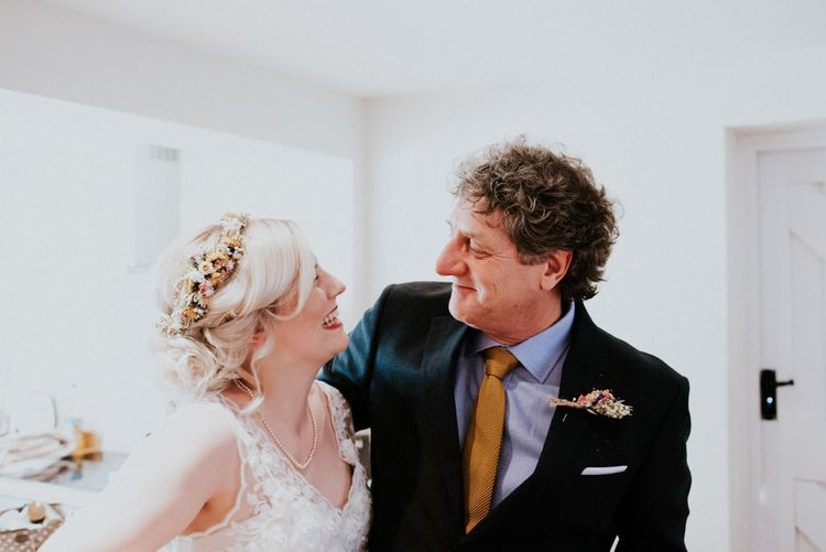 Bride & Father of The Bride Moment   Colourful Outdoor Wedding at Lineham Farm in Leeds   Shutter Go Click Photography