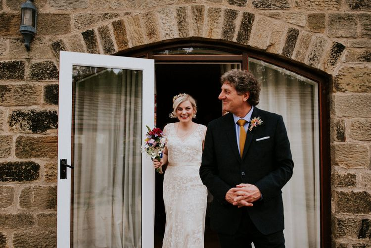 Bride in Catherine Deane Wedding Dress   Father of The Bride   Colourful Outdoor Wedding at Lineham Farm in Leeds   Shutter Go Click Photography