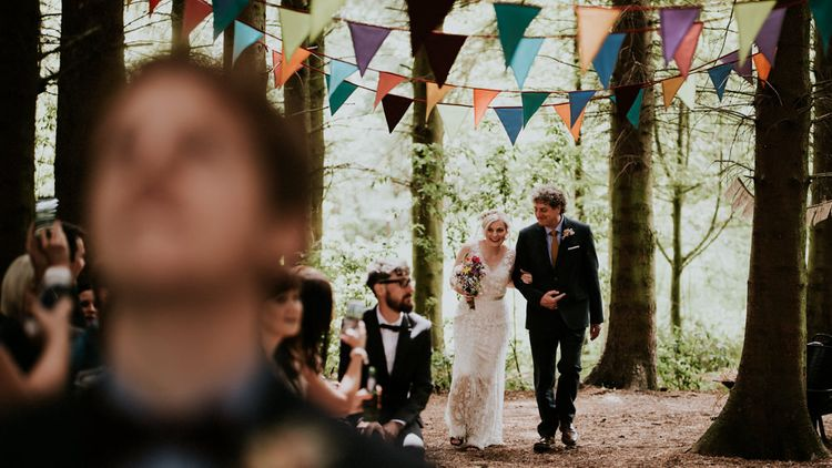 Bridal Entrance in Catherine Deane Dress   Colourful Outdoor Wedding at Lineham Farm in Leeds   Shutter Go Click Photography