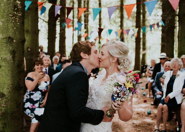 Woodland Wedding Ceremony   Bride in Catherine Deane Dress   Colourful Outdoor Wedding at Lineham Farm in Leeds   Shutter Go Click Photography