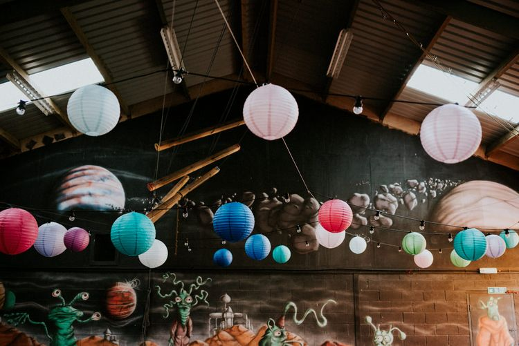 Bright Hanging Paper Lanterns   Colourful Outdoor Wedding at Lineham Farm in Leeds   Shutter Go Click Photography