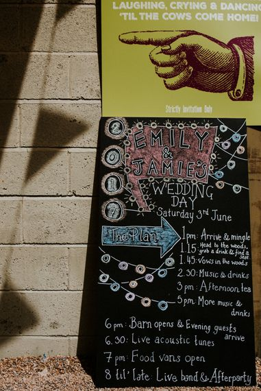 Chalkboard Wedding Sign   Colourful Outdoor Wedding at Lineham Farm in Leeds   Shutter Go Click Photography