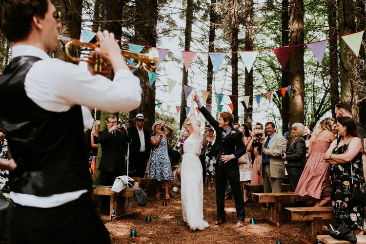 Woodland Wedding Ceremony   Bride in Catherine Deane Gown   Groom in Ben Sherman Suit, Bow Tie & Gingham Shirt   Colourful Outdoor Wedding at Lineham Farm in Leeds   Shutter Go Click Photography