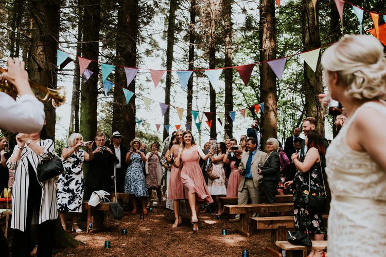 Woodland Wedding Ceremony   Bridesmaids in Marks and Spencer & Coast Dresses   Colourful Outdoor Wedding at Lineham Farm in Leeds   Shutter Go Click Photography