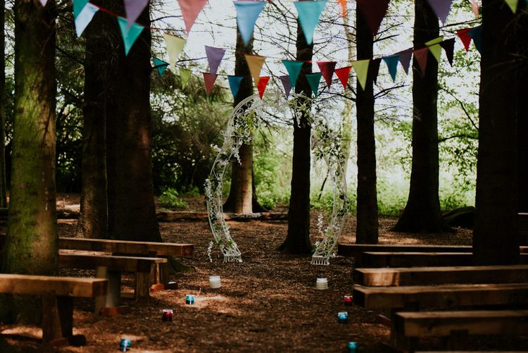 Woodland Ceremony   Colourful Outdoor Wedding at Lineham Farm in Leeds   Shutter Go Click Photography
