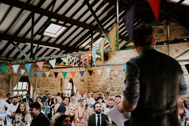 Speeches   Groom in Ben Sherman Suit, Bow Tie & Gingham Shirt   Colourful Barn Reception at Lineham Farm in Leeds   Shutter Go Click Photography