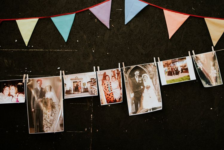 DIY Bunting & Polaroid Pictures   Wedding Decor   Colourful Barn Reception at Lineham Farm in Leeds   Shutter Go Click Photography