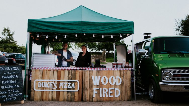 Dukes Wood Fired Pizza Stand   Colourful Barn Reception at Lineham Farm in Leeds   Shutter Go Click Photography