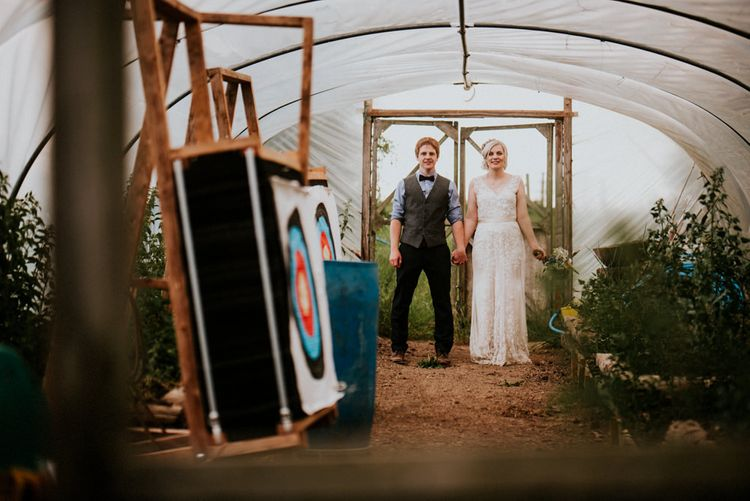 Bride in Catherine Deane Gown   Groom in Ben Sherman Suit, Bow Tie & Gingham Shirt   Colourful Barn Reception at Lineham Farm in Leeds   Shutter Go Click Photography