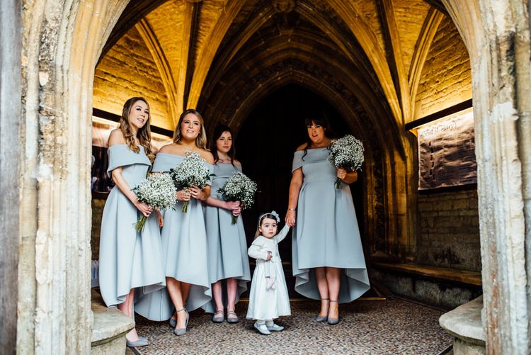 Bridesmaids in Grey ASOS High Low Bardot Dresses | Michelle Wood Photography